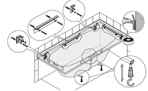 Image of Hoesch Montage-Set für Badewannen, 6911