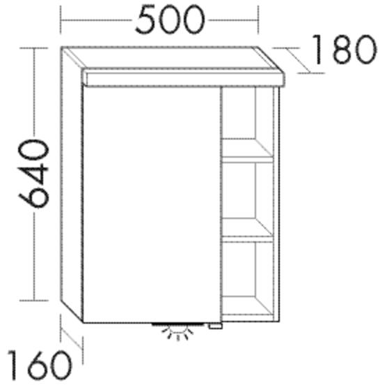 Image of Burgbad Spiegelschrank Orell 640x500x180 Weiß Hochglanz, SPGI050RF1909 SPGI050RF1909