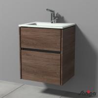Sanipa TwigaGlas Waschtischunterbau mit Glas-Waschtisch und 2 Auszügen, Eiche-Santana, SY22049