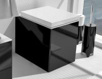 ArtCeram Block Stand-Tiefspül-WC, B: 360, T: 490 mm, schwarz / weiss Dekor