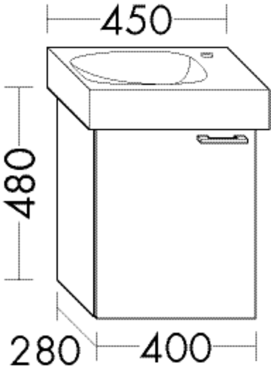 Burgbad Waschtischunterschrank Sys30 PG4 480x400x280 Anthrazit Hochglanz, WUVA040RF3366
