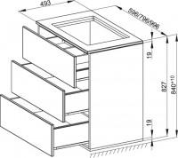Bette Modules WTU-Bau m. Abdeckpl. 3 Ausz, 80x49,5 cm weiß Hochglanz, bodenstehend, RE09-800