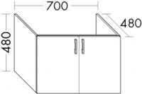 Burgbad Waschtischunterschrank zu M5 Sys30 PG2 480x700x480 Weiß Hochglanz, WVOR070461