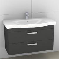 Artiqua Serie 414 Waschtischunterschrank mit 1 Blende und 2 Auszügen, 414-WU2L-V39-7015-51