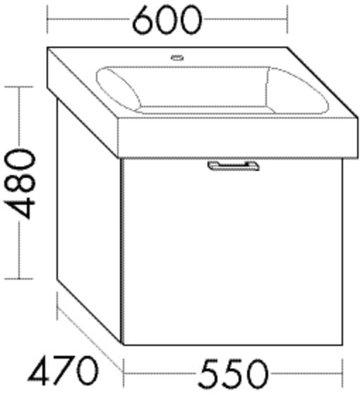 Burgbad Waschtischunterschrank Sys30 PG4 480x550x470 Dunkelgrau Hochglanz, WUVB055F3365