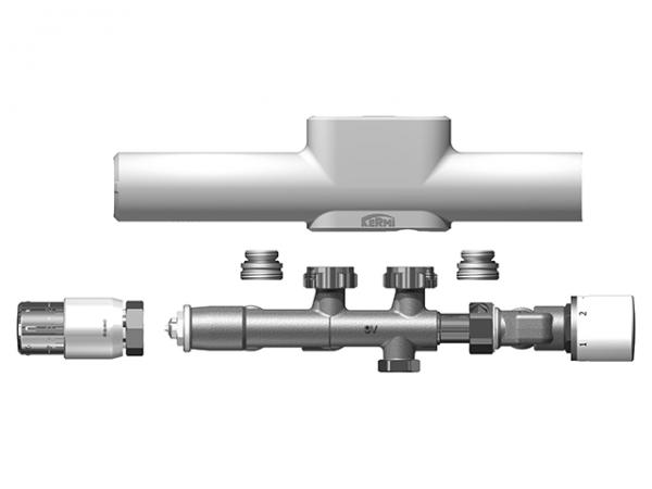 Kermi x-link plus Anschlussgarnitur für FBH, RAL 9016 SG, für Zweirohrsytem, ZV01680001
