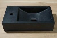 Naturstein Waschbecken, B: 400, T: 220, H: 100 mm, Version links, Material: basalt G684