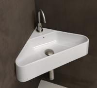 Axa one Serie Normal Aufsatzwaschtisch mit 1 Hahnloch, B: 420, T: 420 mm, weiss glänzend