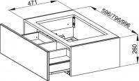 Bette Modules WT-Unterbau 1 Auszug, 60x49,5 cm weiß Hochglanz, RUA1-800