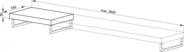 Bette Room Trägerplatte T560, T:55 H:8 Eiche marone, 1901-2000 mm, T560-801