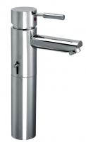 KAJA-Ipuri Einhebel-Waschtischbatterie, erhöhter Ausl m. Zylinderstifth., g latter Körper, chrom
