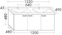 Burgbad Keramik-Waschtisch und Waschtischunterschrank Sys30 PG1 Eiche Dekor Merino/Alpinweiss, SFBA1