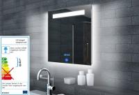 Neuesbad Lichtspiegel LED Beleuchtung, Uhr und Touch Schalter, B:600, H:650 mm