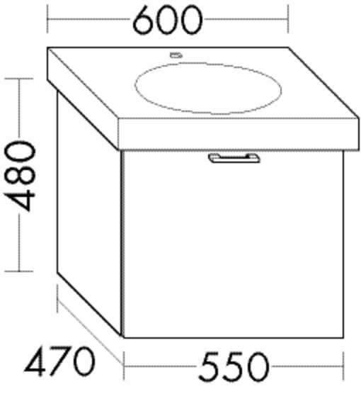Burgbad Waschtischunterschrank Sys30 PG4 480x550x470 Eiche Schwarz, WUUY055F3449