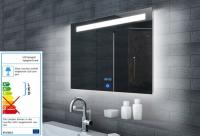 Neuesbad Lichtspiegel LED Beleuchtung, Uhr und Touch Schalter, B:1200, H:650 mm