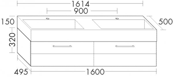 Burg Crono Waschtisch und Unterschrank, B: 1614, H: 470, T: 500 mm, weiss