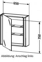 Duravit Spiegelschrank Ketho T:180, B:650, H:750mm, KT7530 , Front/Korpus: nussbaum natur, KT7530R79