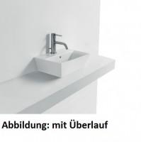 Axa one Jas Waschtisch/Aufsatzwaschtisch, B: 350, T: 250, H: 190 mm, weiss, mit 1 Hahnloch, m. Überl