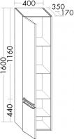 Burgbad Hochschrank Bel 1600x400x350 Eiche Dekor Cashmere, HSBK040LF2172