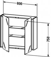 Duravit Spiegelschrank Ketho T:180, B:800, H:750mm, KT75310 , Front/Korpus: graphit matt, KT75310494