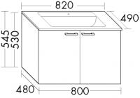 Burgbad Glas-Waschtisch und Waschtischunterschrank  Sys30 PG2 Weiß Hochglanz/Weiß, SEXQ082461A0070