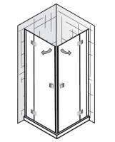 HSK Atelier Eckeinstieg 4-teilig, mit Drehtüren, 100x100x200cm