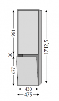 Sanipa Hochschrank rechts Twiga Glas, SY10314 Pinie-Grau