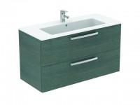 Ideal Standard Waschtisch/Möbel-Paket EUROVIT PLUS, 1015x450x565mm, Weiß / Eiche anthrazit, K7336SG