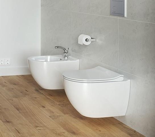 Neuesbad Serie 100 Wand-Tiefspül-WC spülrandlos (rimless), weiss mit Beschichtung, B:355, T:495mm