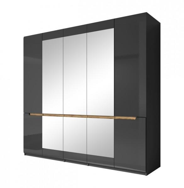 Drehtürenschrank HL1-21, 225 cm x 213 cm x 60 cm, grau/grau hochglanz/Appenzeller Fichte