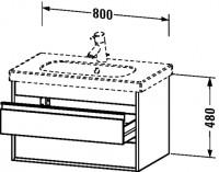 Duravit Waschtischunterschrank wandhängend Ketho T:455, B:800, H:480mm, KT6647 , Front/Korpus: nussb