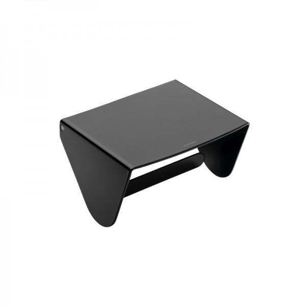 Cosmic Black and White Rollenhalter Mit Deckel 13x11,5x11 cm, Glänzend Schwarz, 2380659