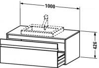 Duravit Waschtischunterschrank wandhängend Ketho T:550, B:1000, H:426mm, KT6795