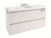 Cosmic B-Box Unterschrank 4 Schubladen mit Waschtisch glänzend 2 Becken, (120 cm), B05031201157
