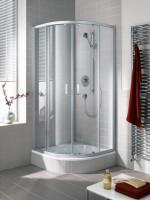 Kermi Viertelkreis Ibiza 2000 T10 0900x2000, silber mattglanz, ESG klar mit KermiClean