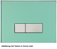 Neuesbad Betätigungsplatte mit eckigen Tasten, Glas, Farbe: Grün mattiert, Tasten: chrom matt