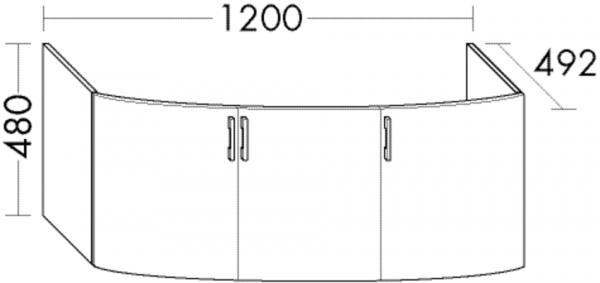 Burgbad Waschtischunterschrank Sys30 PG4 480x1200x492 Hellrot Hochglanz, WUYM120F3361