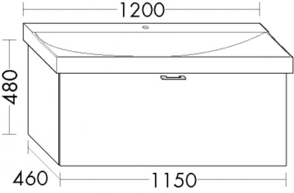 Burgbad Waschtischunterschrank Sys30 PG4 480x1150x460 Dunkelgrau Hochglanz, WUVF115F3365