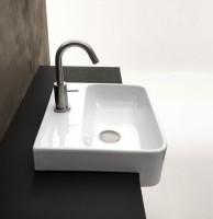 Axa one Serie Normal Halbeinbau-Waschtisch mit 1 Hahnloch, B: 350, T: 350 mm, weiss glänzend