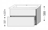 Sanipa Waschtischunterschrank mit Auszügen 3way BR81172, Steingrau
