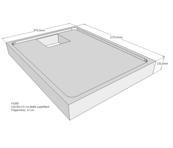 Neuesbad Wannenträger für Bette superflach 120x90x3,5