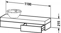 Duravit Konsole mit Schubkasten Fogo T:360, B:1100, H:215mm, FO83740