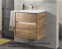 Sanipa Twiga Glas Waschtisch-Set mit Auszügen u. LED SY23217 Ulme Impresso 595,0x615,0x459,0