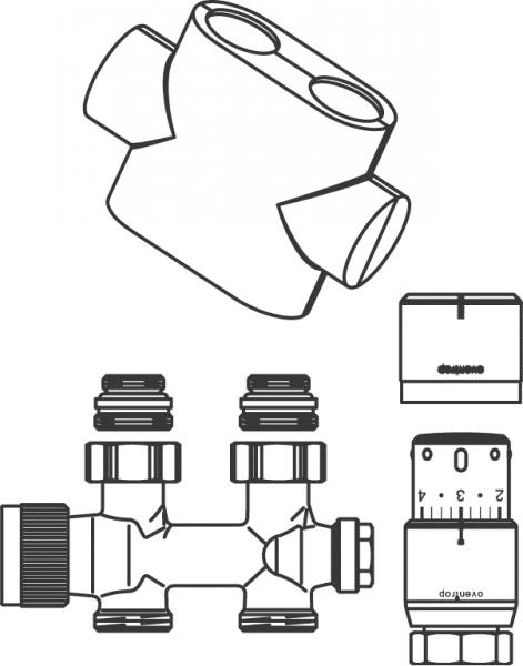 Oventrop Anschluss-Set Multiblock T und Uni SH