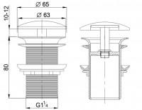 Neuesbad Keramik Ablaufgarnitur rund mit Keramik Abdeckung, Verschluss Klick-Klack, ohne Überlauf