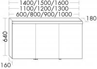 Burgbad Spiegelschrank Sys30 PG3 640x600x180 Eiche Graubraun Wellenschlag, SPLA060F1249