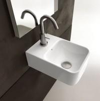 Axa one Serie Normal Waschtisch mit 1 Hahnloch, B: 240, T: 350 mm, weiss glänzend