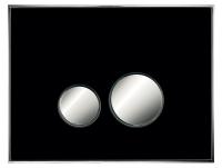 Neuesbad Betätigungsplatte mit runden Tasten, Glas, Farbe: schwarz, Tasten: chrom matt