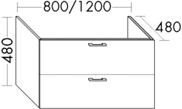 Burgbad Waschtisch-Unterschrank Sys30 PG4 480x1200x480 Grau Hochglanz, WUYI120F3364