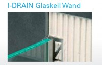 I-DRAIN Glaskeil Wand 2,10 m, Edelstahl, gebürstet,h1 25mm,h2 12mm